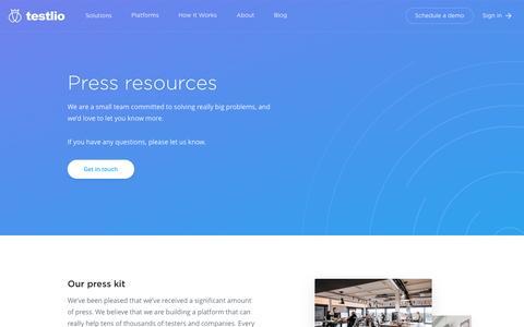 Screenshot of Press Page testlio.com - Press resources - Testlio - captured May 20, 2017