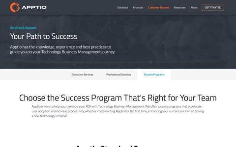 Screenshot of Support Page apptio.com - Success Programs | Apptio - captured Sept. 10, 2016