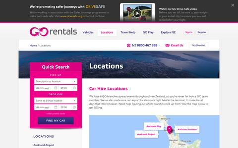 Screenshot of Locations Page gorentals.co.nz - Rental Car Locations NZ - Car Hire NZ - Go Rentals - captured Aug. 25, 2016