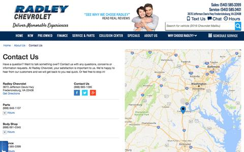 Screenshot of Contact Page Hours Page radleychevrolet.com - Contact Radley Chevrolet in Fredericksburg Virginia - captured Dec. 5, 2016