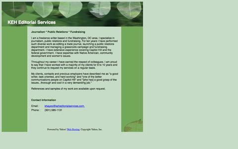 Screenshot of Home Page keheditorialservices.com - KEH Editorial Services - captured Sept. 30, 2014