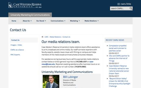 Screenshot of Contact Page case.edu - Contact Us | UMC | CWRU - University Marketing & Communications - Case Western Reserve University - captured May 9, 2017