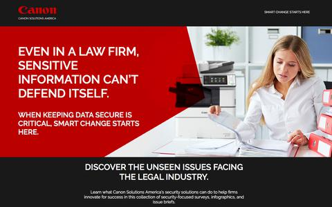Screenshot of Landing Page canon.com - Canon Solutions America   Smart Change Starts Here - captured May 29, 2018