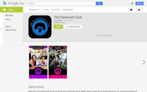 Screenshot of Android App Page google.com - The Claremont Club - Android Apps on Google Play - captured Oct. 25, 2014