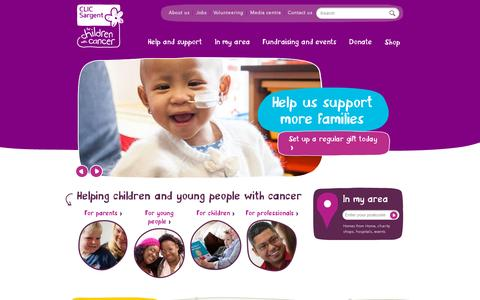 Screenshot of Home Page clicsargent.org.uk - CLIC Sargent | For children and young people with cancer - captured July 12, 2014