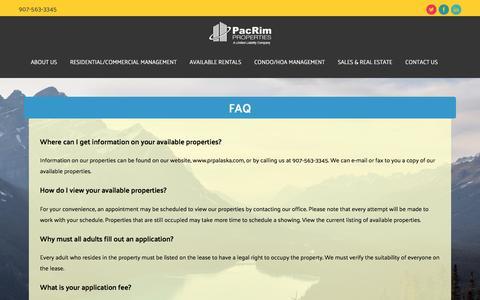 Screenshot of FAQ Page prpalaska.com - FAQ - PacRim Properties - captured Oct. 16, 2016