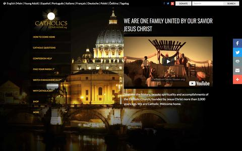 Screenshot of Home Page catholicscomehome.org - Catholics Come Home | Welcome Home - captured July 16, 2018