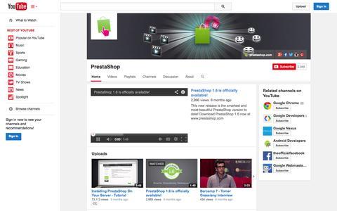 Screenshot of YouTube Page youtube.com - PrestaShop  - YouTube - captured Oct. 22, 2014