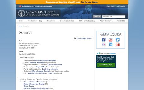 Screenshot of Contact Page commerce.gov - Contact Us | Department of Commerce - captured Sept. 18, 2014