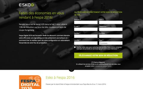 Screenshot of Landing Page esko.com - Faites des économies en vous rendant à Fespa 2016! - Esko - captured April 19, 2016