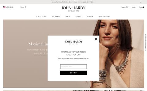 Screenshot of Home Page johnhardy.com - The Official John Hardy Online Boutique -Artisan Hand-Crafted Jewelry - captured Oct. 12, 2019