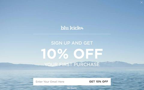 Screenshot of Home Page blukicks.com - Blu Kicks | Kicks for Your Next Adventure - captured Aug. 2, 2018