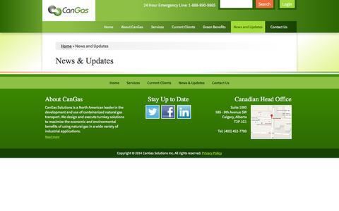 Screenshot of Press Page cangassolutions.com - News & Updates   CanGas Solutions - captured Jan. 24, 2016