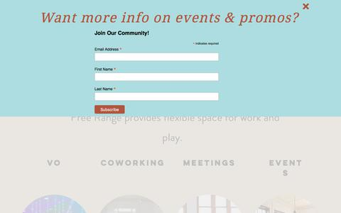 Screenshot of Home Page freerangeoffice.com - Free Range Office | Coworking Meetings Events | Chicago - captured Aug. 22, 2018