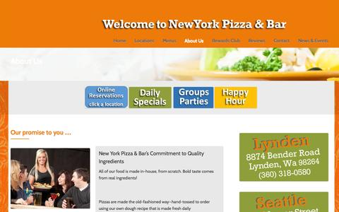 Screenshot of About Page newyorkpizzaandbar.com - About Us - New York Pizza and Bar Restaurant | Seattle - Bellingham - Lynden - captured Oct. 29, 2014