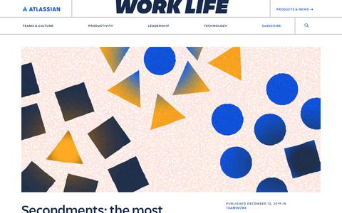 Screenshot of Blog atlassian.com - Secondments: the most powerful job training you can get - Work Life by Atlassian - captured Feb. 8, 2020
