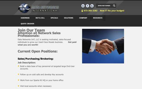 Screenshot of Jobs Page dni-llc.com - Network Sales Professionals - Used Cisco Sales - Used Cisco Resale - captured Oct. 7, 2018