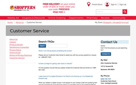 Screenshot of Support Page shoppersfood.com - Shoppers Food   Customer Service    Shoppers - captured June 14, 2018
