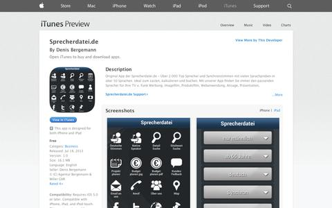 Screenshot of iOS App Page apple.com - Sprecherdatei.de on the App Store on iTunes - captured Oct. 30, 2014