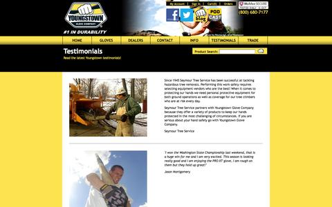 Screenshot of Testimonials Page ytgloves.com - Testimonials | Youngstown Glove Company - captured Oct. 7, 2014