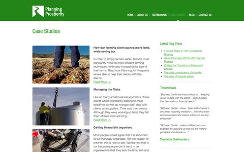 Screenshot of Case Studies Page planningforprosperity.com.au - Case Studies - Planning for Prosperity - captured Sept. 30, 2014