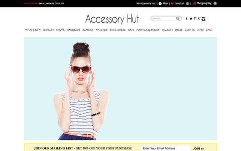 Screenshot of Home Page accessoryhut.com - Buy Fashion Accessories for Women Online | Women's Jewelry, Shoes, Handbags, Wallets, Scarves, Gloves, Belts, Watches, and Sunglasses for Sale | Accessory Hut - captured July 24, 2016