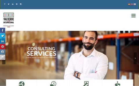 Screenshot of Home Page valverdeinternacional.com - Valverde Internacional – Agencia Aduanal - captured Sept. 20, 2018