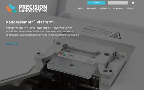 Screenshot of Home Page precisionnanosystems.com - Home - Precision Nanosystems - captured Jan. 30, 2016