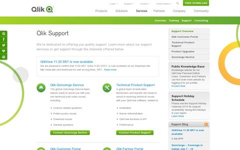 Screenshot of Support Page qlik.com - QlikView Support - Business Intelligence (BI) Reporting Software Solutions | Qlik - captured July 18, 2014