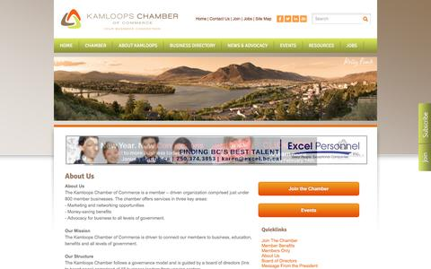 Screenshot of About Page kamloopschamber.ca - About Us - Kamloops Chamber of Commerce | Kamloops, BC - captured Feb. 12, 2016