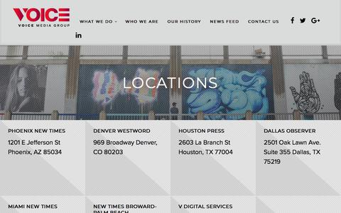Screenshot of Locations Page voicemediagroup.com - Locations | www.voicemediagroup.com - captured Sept. 20, 2018