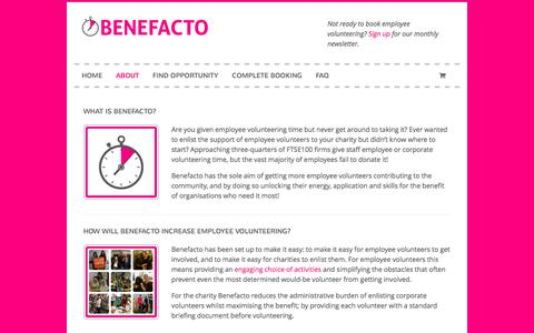 Screenshot of About Page benefacto.org - Benefacto is an employee volunteering portal | Benefacto - captured Sept. 30, 2014