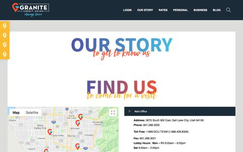 Screenshot of Jobs Page granite.org - Find/Contact Us – Granite Credit Union - captured Sept. 5, 2019