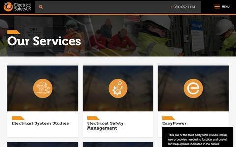 Screenshot of Services Page elecsafety.co.uk - Our Services - Electrical Safety UK - captured Nov. 10, 2018