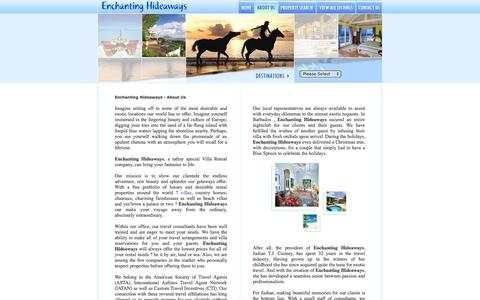 Screenshot of About Page enchantinghideaways.com - About Us - Luxury Villa Rentals & Vacation Homes - captured Oct. 3, 2014