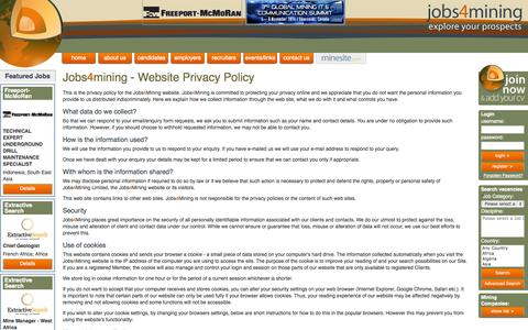 Screenshot of Privacy Page jobs4mining.com - Jobs4Mining privacy policy - captured Oct. 27, 2014