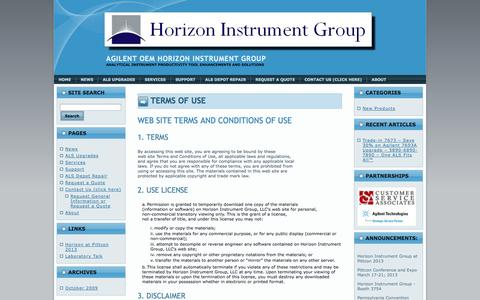 Screenshot of Terms Page horizoninstrumentgroup.com - Terms of Use | Agilent OEM Horizon Instrument Group - captured Oct. 2, 2014