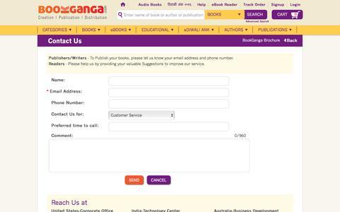 Screenshot of Contact Page bookganga.com - BookGanga - Creation | Publication | Distribution - captured Dec. 25, 2016