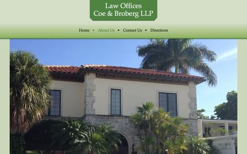Screenshot of About Page coebroberg.com - About Us - Coe & Broberg LLP - captured Oct. 3, 2014