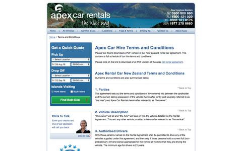 New Zealand Rental Terms & Conditions - Apex Car Rentals New Zealand