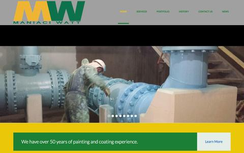 Screenshot of Home Page mw-coatings.com - Maniaci / Watt  | Welcome to MW Coatings - captured Oct. 4, 2014