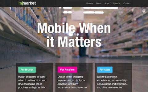 Screenshot of Home Page inmarket.com - inMarket Mobile to Mortar iBeacon Platform for Brands, Retailers, and Apps - captured Dec. 4, 2015