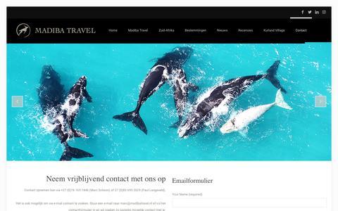 Screenshot of Contact Page madibatravel.nl - Contact – Madiba Travel - captured Dec. 8, 2018
