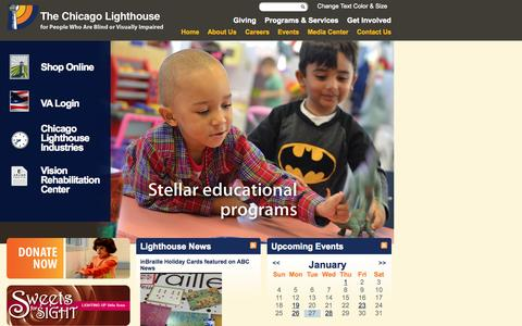 Screenshot of Home Page chicagolighthouse.org - Chicago Lighthouse | The Chicago Lighthouse - captured Jan. 28, 2015