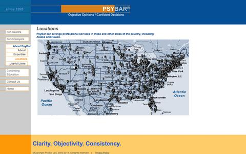 Screenshot of Locations Page psybar.com - PsyBar, LLC: Locations - captured Sept. 30, 2014