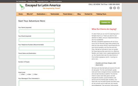 Screenshot of Contact Page escapedtolatinamerica.com - Start Your Adventure Here: - Escaped to Latin America - captured Oct. 2, 2014