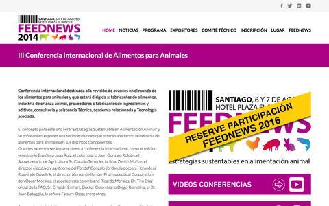Screenshot of Home Page feednews.cl - Feednews - Estrategias sustentables en alimentación animal - captured March 2, 2016
