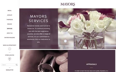 Screenshot of Services Page mayors.com - Mayors | Gift cards, appraisals, repairs and more - captured Feb. 12, 2016