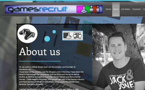 Screenshot of About Page gamesrecruit.co.uk - gamesrecruit   About - captured Sept. 27, 2018