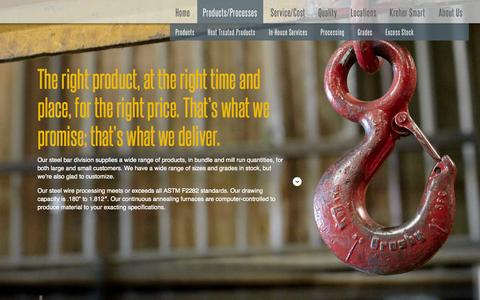 Screenshot of Products Page kreher.com - Kreher Steel Company - captured Oct. 6, 2014